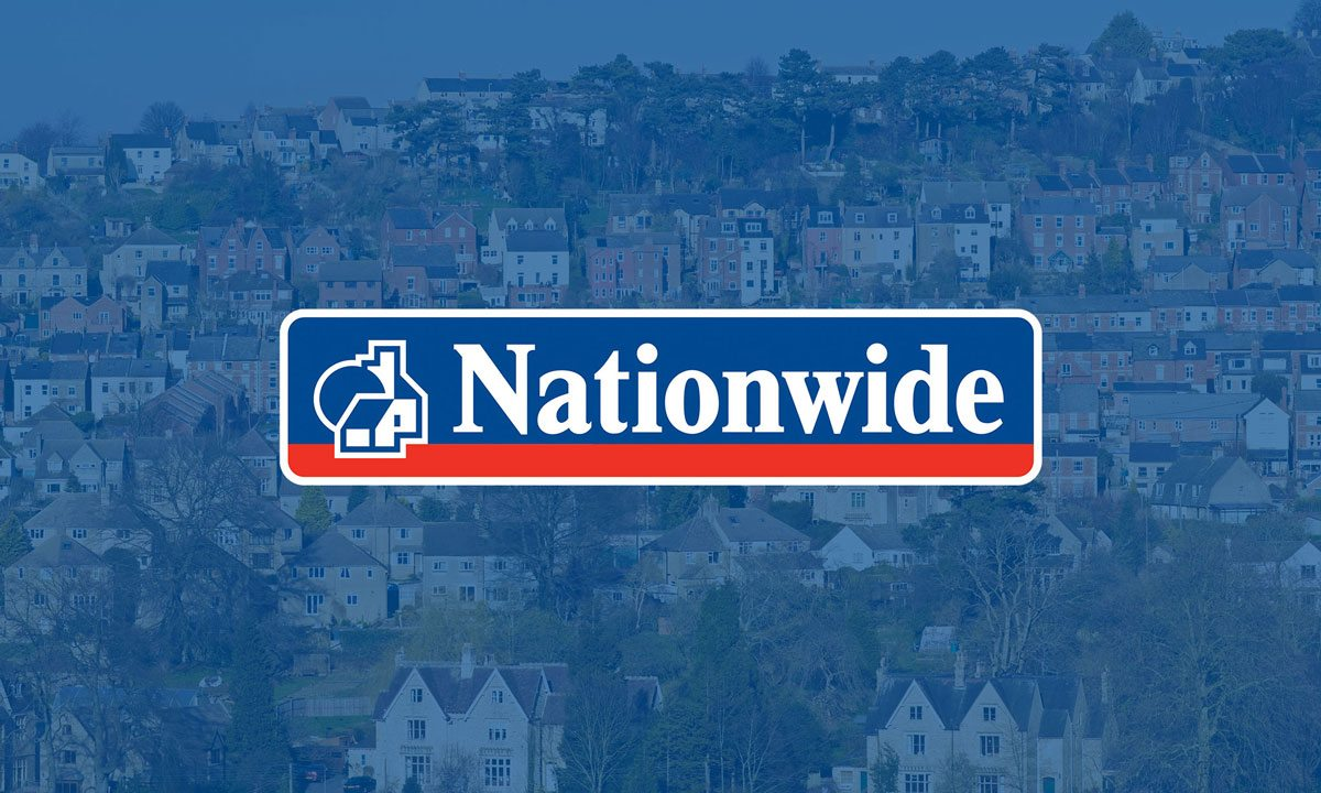 Nationwide logo with houses in the background