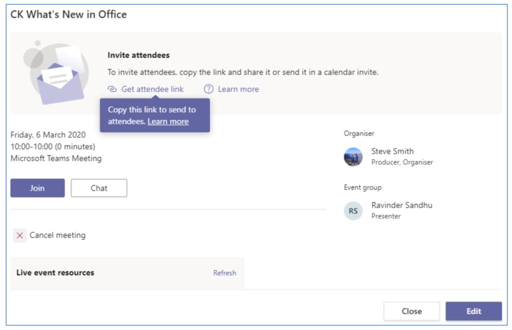 Publish Microsoft Teams Live Event